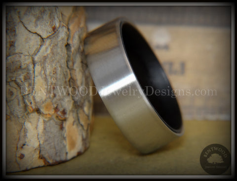 Bentwood Ring - Gaboon Ebony Core Ring and Surgical Grade Hypo-Allergenic Stainless Steel Exterior