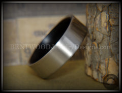 Bentwood Gaboon Ebony Core Ring and Surgical Grade Hypo-Allergenic Stainless Steel Exterior - Bentwood Jewelry Designs - Custom Handcrafted Bentwood Wood Rings  - 2