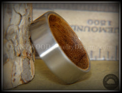 Bentwood Rosewood Core Ring and Surgical Grade Hypo-Allergenic Stainless Steel Exterior - Bentwood Jewelry Designs - Custom Handcrafted Bentwood Wood Rings  - 1