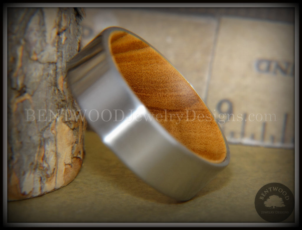 Bentwood Ring - Olivewood Core Ring and Surgical Grade Hypo-Allergenic Stainless Steel Exterior handcrafted bentwood wooden rings wood wedding ring engagement
