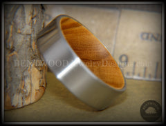 Bentwood Olive wood Core Ring Surgical Grade Hypo-Allergenic Stainless Steel Valentine's Day Gift