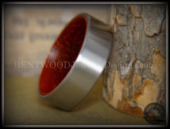 Bentwood Padauk Core Ring and Surgical Grade Hypo-Allergenic Stainless Steel Exterior - Bentwood Jewelry Designs - Custom Handcrafted Bentwood Wood Rings  - 4