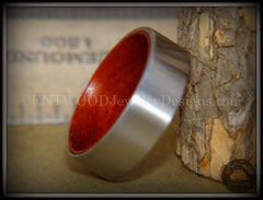 Bentwood Padauk Core Ring and Surgical Grade Hypo-Allergenic Stainless Steel Exterior - Bentwood Jewelry Designs - Custom Handcrafted Bentwood Wood Rings  - 2