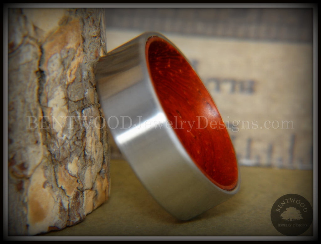 Bentwood Padauk Core Ring and Surgical Grade Hypo-Allergenic Stainless Steel Exterior - Bentwood Jewelry Designs - Custom Handcrafted Bentwood Wood Rings  - 1