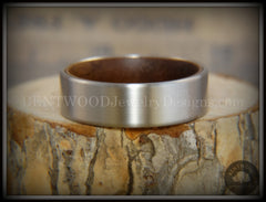 Bentwood Walnut Core Ring and Surgical Grade Hypo-Allergenic Stainless Steel Exterior - Bentwood Jewelry Designs - Custom Handcrafted Bentwood Wood Rings  - 2
