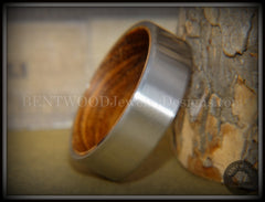 Bentwood Zebrawood Core Ring and Surgical Grade Hypo-Allergenic Stainless Steel Exterior - Bentwood Jewelry Designs - Custom Handcrafted Bentwood Wood Rings  - 2