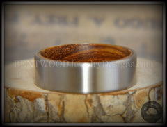 Bentwood Zebrawood Core Ring and Surgical Grade Hypo-Allergenic Stainless Steel Exterior - Bentwood Jewelry Designs - Custom Handcrafted Bentwood Wood Rings  - 5