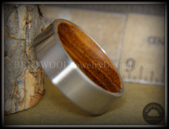 Bentwood Zebrawood Core Ring and Surgical Grade Hypo-Allergenic Stainless Steel Exterior - Bentwood Jewelry Designs - Custom Handcrafted Bentwood Wood Rings  - 1