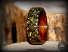Bentwood Ring - Santos Rosewood Wood Ring with Hawaiian Papakolea Olivine Beach Sand Inlay - Bentwood Jewelry Designs - Custom Handcrafted Bentwood Wood Rings