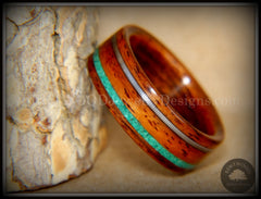 Bentwood Ring - Santos Rosewood Ring Malachite and Guitar String Inlay handcrafted bentwood wooden rings wood wedding ring engagement