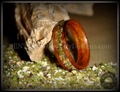 Bentwood Rings - Santos Rosewood Wood Ring with Hawaiian Papakolea Olivine Beach Sand Inlay - Bentwood Jewelry Designs - Custom Handcrafted Bentwood Wood Rings  - 4