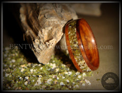 Bentwood Rings Santos Rosewood Wood Ring with Hawaiian Papakolea Olivine Beach Sand Inlay Custom Handcrafted Bent wood Wooden Ring