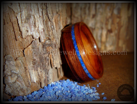 Bentwood Ring - Santos Rosewood Wooden Ring with Offset Blue Lapis Inlay
