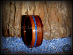 Bentwood Ring - Santos Rosewood Wooden Ring with Offset Blue Lapis Inlay - Bentwood Jewelry Designs - Custom Handcrafted Bentwood Wood Rings