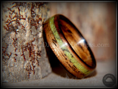 "Bentwood Ring - ""Inlaid Ole Smoky"" Olive Wood Ring with Green Apple Turquoise Inlay - Bentwood Jewelry Designs - Custom Handcrafted Bentwood Wood Rings"