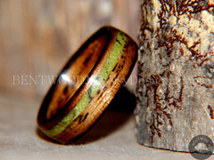"Bentwood Ring - ""Inlaid Ole Smoky"" Olive Wood Ring with Green Apple Turquoise Inlay - Bentwood Jewelry Designs - Custom Handcrafted Bentwood Wood Rings  - 5"