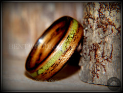 "Bentwood Ring - ""Inlaid Ole Smoky"" Olive Wood Ring with Green Apple Turquoise Inlay - Bentwood Jewelry Designs - Custom Handcrafted Bentwood Wood Rings  - 2"