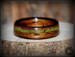 "Bentwood Ring - ""Inlaid Ole Smoky"" Olive Wood Ring with Green Apple Turquoise Inlay - Bentwood Jewelry Designs - Custom Handcrafted Bentwood Wood Rings  - 6"