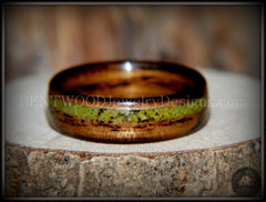 "Bentwood Ring - ""Inlaid Ole Smoky"" Olive Wood Ring with Green Apple Turquoise Inlay - Bentwood Jewelry Designs - Custom Handcrafted Bentwood Wood Rings  - 3"