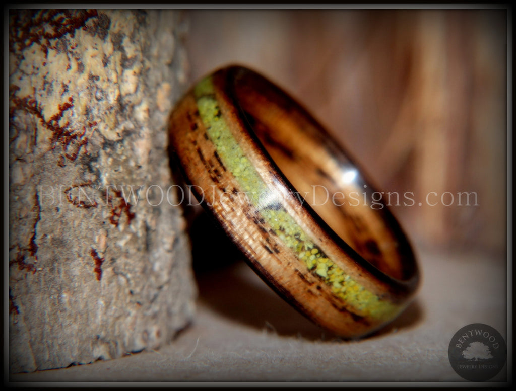 "Bentwood Ring - ""Inlaid Ole Smoky"" Olive Wood Ring with Green Apple Turquoise Inlay - Bentwood Jewelry Designs - Custom Handcrafted Bentwood Wood Rings  - 1"