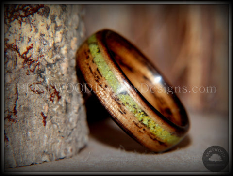 "Bentwood Ring - ""Inlaid Ole Smoky"" Olive Wood Ring with Green Apple Turquoise Inlay"