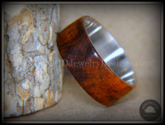 "Bentwood Ring - ""Snake-Skin"" Snake Wood Ring on Titanium Steel Comfort Fit Metal Core     ***  Limited Supply  *** handcrafted bentwood wooden rings wood wedding ring engagement"