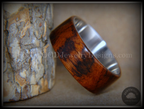 "Bentwood Ring - ""Snake-Skin"" Snake Wood Ring on Titanium Steel Comfort Fit Metal Core     ***  Limited Supply  ***"