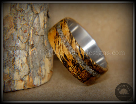 "Bentwood Ring - ""Spalted"" Live Oak Beach Sand Inlay Stainless Steel Core"