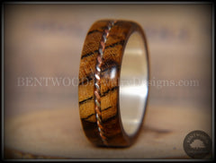 Bentwood Ring - Spalted Maple Ring on Fine Silver Core with Copper and Silver Inlay - Bentwood Jewelry Designs - Custom Handcrafted Bentwood Wood Rings