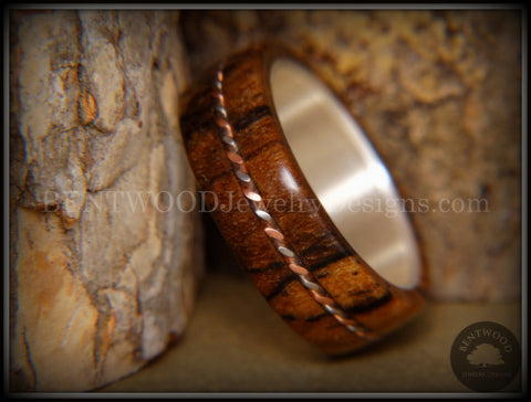 Bentwood Ring - Spalted Maple Ring on Fine Silver Core with Copper and Silver Inlay