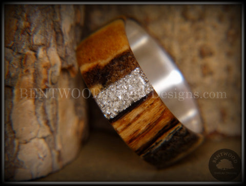 Bentwood Ring - Spalted Maple Ring on Fine Silver Core and Transverse Silver Glass Inlay