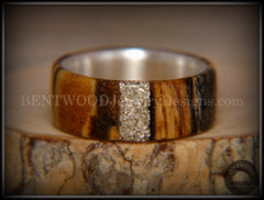 Bentwood Ring - Spalted Maple Ring on Fine Silver Core and Transverse Silver Glass Inlay handcrafted bentwood wooden rings wood wedding ring engagement