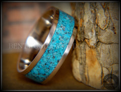 Bentwood Ring - Turquoise Inlay on Surgical Grade Stainless Steel Comfort Fit Metal Core - Bentwood Jewelry Designs - Custom Handcrafted Bentwood Wood Rings  - 2