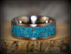 Bentwood Ring - Turquoise Inlay on Surgical Grade Stainless Steel Comfort Fit Metal Core - Bentwood Jewelry Designs - Custom Handcrafted Bentwood Wood Rings  - 3