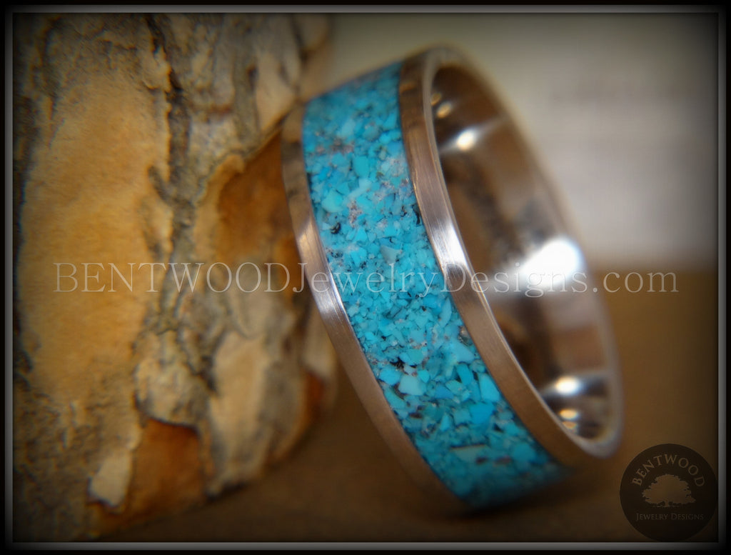Bentwood Ring - Turquoise Inlay on Surgical Grade Stainless Steel Comfort Fit Metal Core - Bentwood Jewelry Designs - Custom Handcrafted Bentwood Wood Rings  - 1