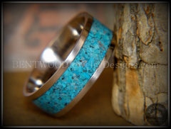 Bentwood Ring - Turquoise Inlay on Surgical Grade Stainless Steel Comfort Fit Metal Core - Bentwood Jewelry Designs - Custom Handcrafted Bentwood Wood Rings  - 5