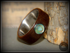 "Bentwood Ring - ""Sea Opal"" Walnut with Abalone Paua Shell Inlay on Comfort Fit Surgical Steel Core"