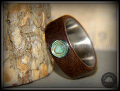 "Bentwood Ring - ""Sea Opal"" Walnut with Abalone Paua Shell Inlay on Comfort Fit Surgical Steel Core handcrafted bentwood wooden rings wood wedding ring engagement"