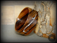 "Bentwood Ring - ""Scroll"" Zebrawood Ring with Mother of Pearl Inlay handcrafted bentwood wooden rings wood wedding ring engagement"