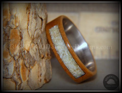 "Bentwood Ring - ""Pillar"" European Walnut Wood with Connemara Marble Inlay"