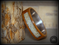 "Bentwood Ring - ""Pillar"" European Walnut Wood with Connemara Marble Inlay Titanium Core handcrafted bentwood wooden rings wood wedding ring engagement"