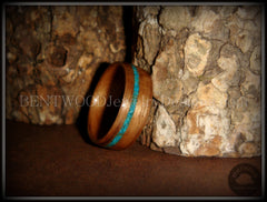 Bentwood Ring - American Walnut Wood Ring and Offset Chrysocolla Stone Inlay - Bentwood Jewelry Designs - Custom Handcrafted Bentwood Wood Rings  - 2
