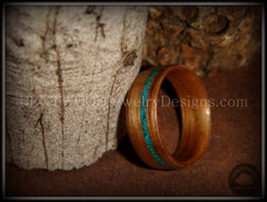 Bentwood Ring - American Walnut Wood Ring and Offset Chrysocolla Stone Inlay - Bentwood Jewelry Designs - Custom Handcrafted Bentwood Wood Rings  - 4