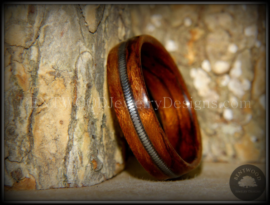 Bentwood Ring - Waterfall Bubinga Wood Ring with Silver Electric Guitar String Inlay - Bentwood Jewelry Designs - Custom Handcrafted Bentwood Wood Rings  - 1