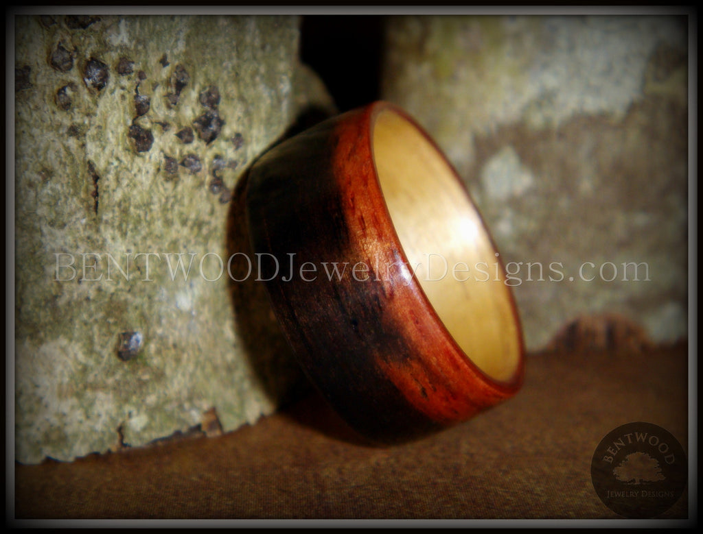 Bentwood Ring - Macassar Ebony Wood Ring (Striped) with Maple Liner using Bentwood Process - Bentwood Jewelry Designs - Custom Handcrafted Bentwood Wood Rings
