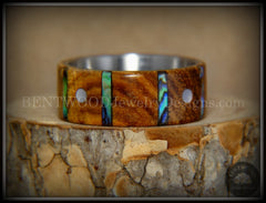 "Bentwood Ring - ""Frets"" Zebrawood on Titanium Core with Guitar Fret Inlay using Paua Shell and Mother of Pearl Inlay handcrafted bentwood wooden rings wood wedding ring engagement"
