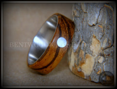 "Bentwood Ring - ""Sea Pearl"" Zebrawood with Mother of Pearl Shell Inlay on Comfort Fit Surgical Steel Core handcrafted bentwood wooden rings wood wedding ring engagement"