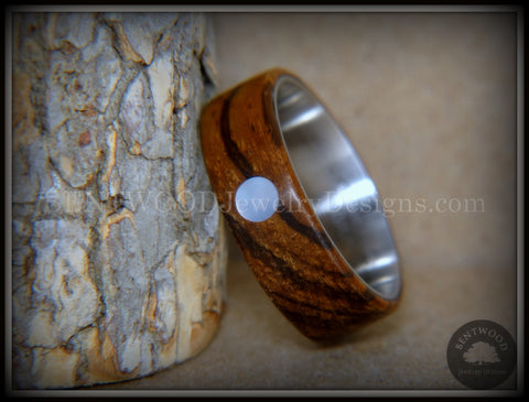 "Bentwood Ring - ""Sea Pearl"" Zebrawood with Mother of Pearl Shell Inlay on Comfort Fit Surgical Steel Core"