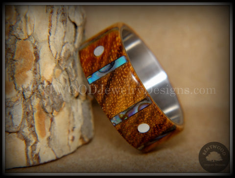 "Bentwood Ring - ""Frets"" Zebrawood on Titanium Core with Guitar Fret Inlay using Paua Shell and Mother of Pearl Inlay"