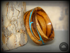 "Bentwood Ring - ""Scroll"" Zebrawood Ring with Turquoise Inlay handcrafted bentwood wooden rings wood wedding ring engagement"